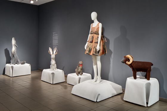 """An image from the installation """"Folk Couture"""" at the American Folk Museum in New York City designed by Situ Studio."""