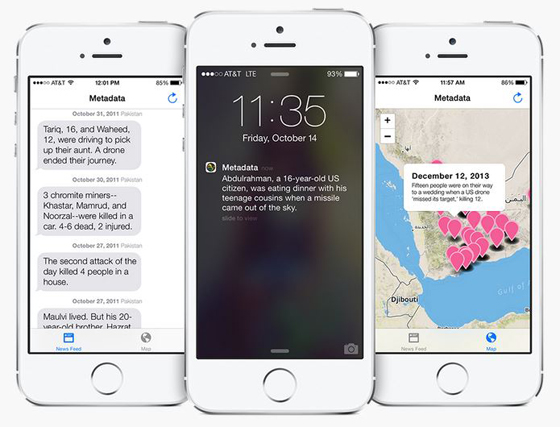 Josh Bogley's Metadata+ app sends real-time alerts for every reported United States drone strike to its users.