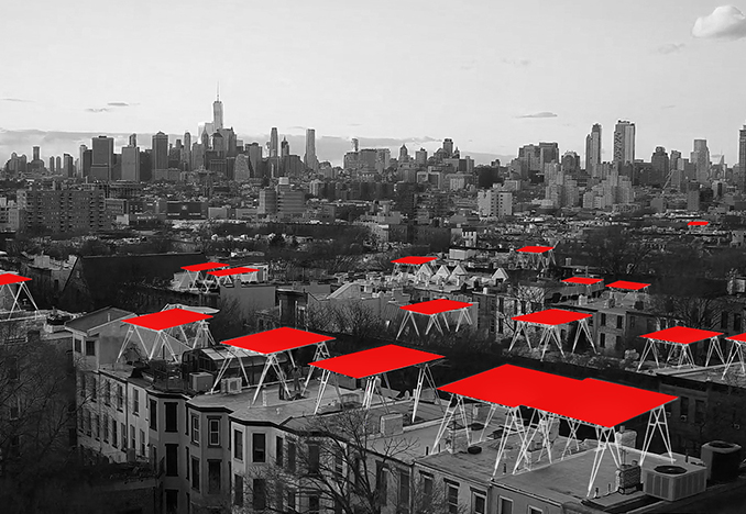 Concept rendering of Solar Canopies populating Brooklyn<br>Aerial photography by Marvel Vision