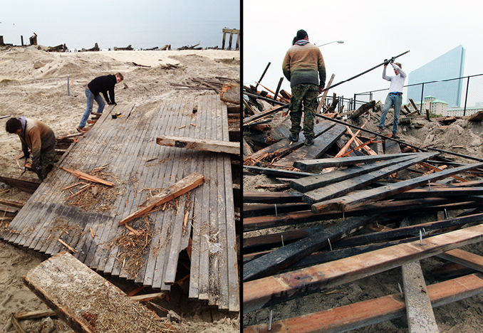 Salvaging wood at Atlantic City, NJ Boardwalk, 2013